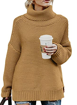 96aa001b408268 Ladies Winter Cowl Neck Knitted Ribbed Full Sleeve Side Slit Solid Warm  Loose Jumper Pullovers Sweater