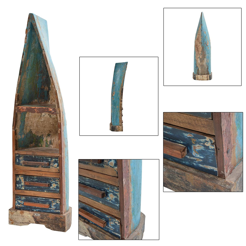 Regal Seaside 3Varianten Standregal Bücherregal Bootsregal Unikat Bootsholz, Ausführung:Schubladen