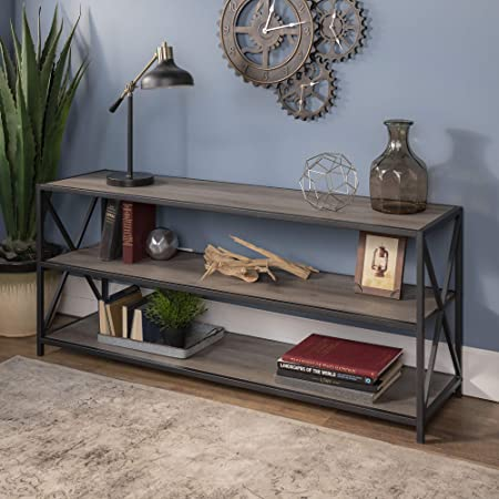 WE Furniture AZS60XMWGW Bookshelf, 60 , Grey Wash