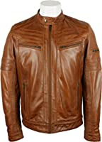 UNICORN Mens Fashion Jacket - Real Leather Jacket - Waxed Brown #2P