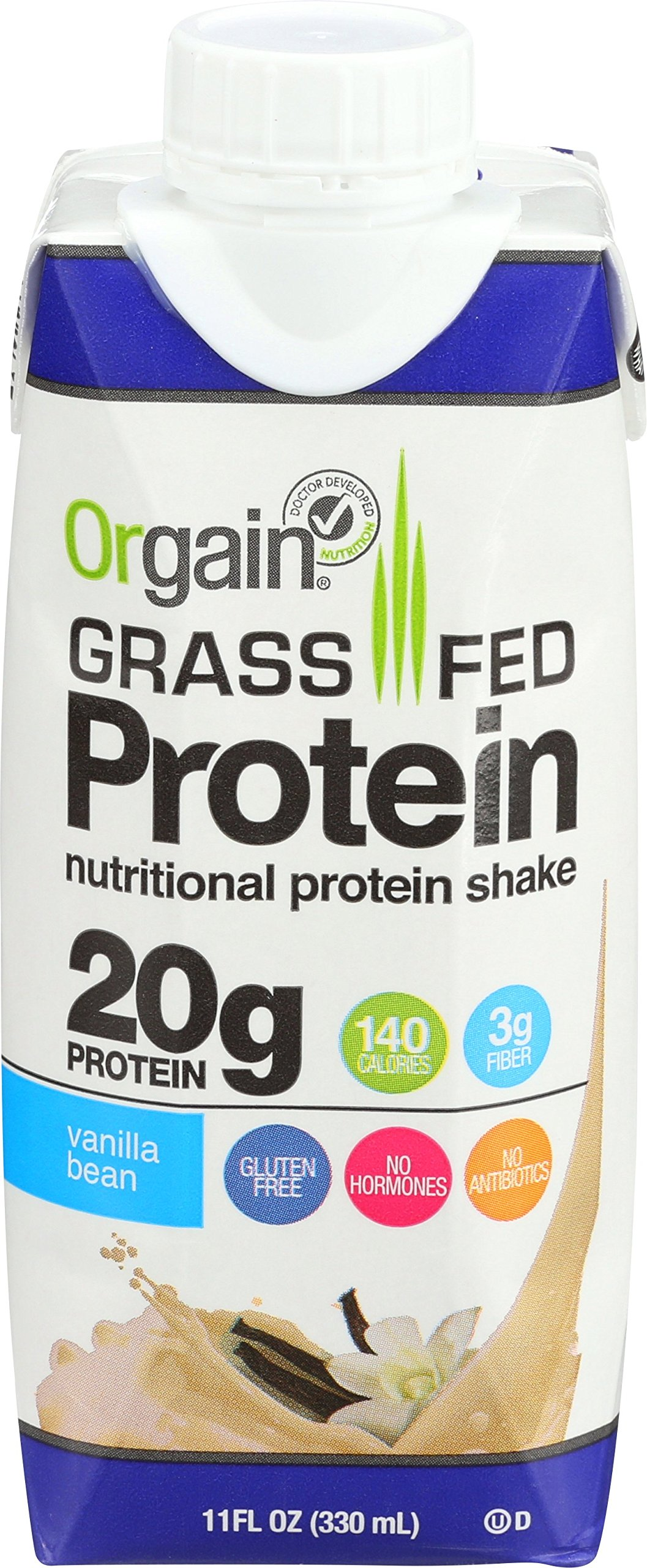 Orgain Grass Fed Protein Shake, Vanilla Bean, 11 Ounce, 12 Count