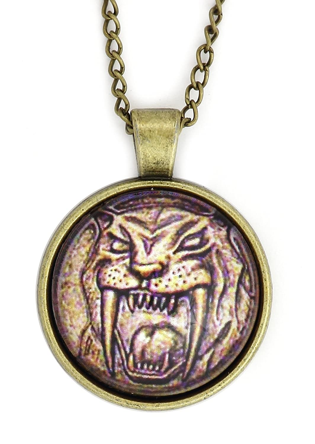 Amazon.com: Sabretooth tigre Dino moneda collar de oro tono ...