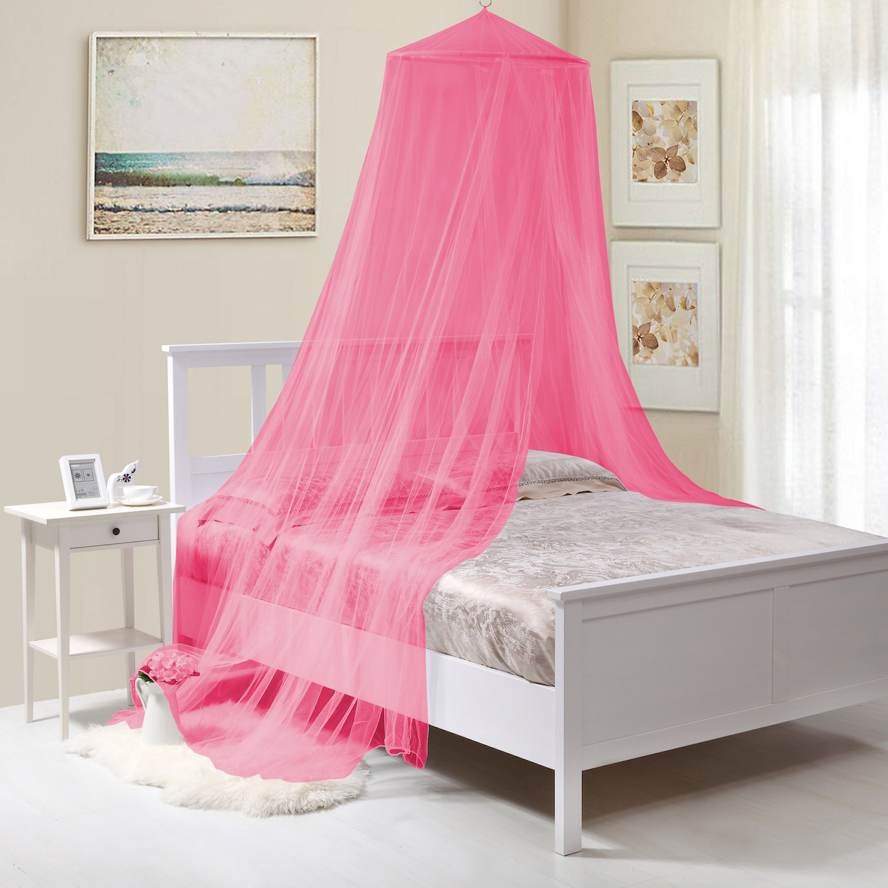 Fantasy Kids Kids Collapsible Wire Hoop Bed Canopy, One Size, Hot Pink