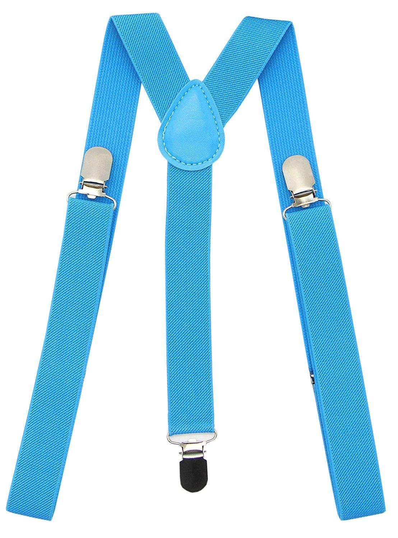 Mens Women Suspenders 1 Inch Elastic Adjustable Y-Back Clip-on Suspender Braces - Green PlayCool TTBD-SUS_GREEN