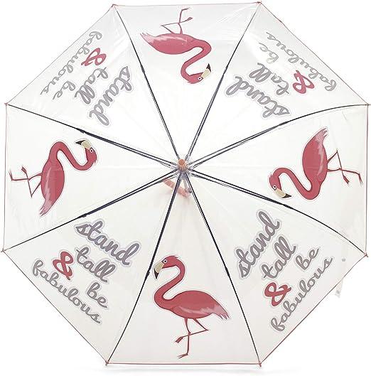 Blanc 70 cm Blanco Zaska Parapluie Automatique Flament Rose En Polyester Blanc 58Cm Paraguas cl/ásico