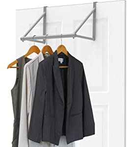 Simple Houseware Over The Door Closet Rod Hanger, Sliver