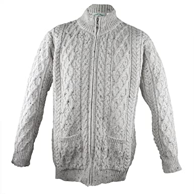 West End Knitwear Mens Merino Wool Full Zip Aran Sweater At Amazon