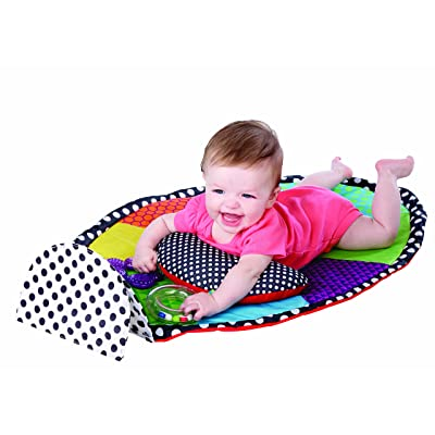 Sassy Developmental Tummy Time Playmat | Large Mirror | Includes Rattle, Teether & Cushioned Support Bolster | Machine Washable Mat | Ages 0+ : Baby