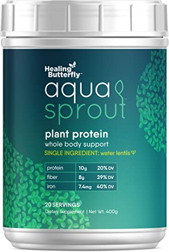 Aqua Sprout Vegan Plant Protein Powder, Premium Quality, Single Ingredient Pure Water Lentil, Whole Body Plant Protein Support, High In Essential Minerals, Fiber, Omega-3, Magnesium, 20 Servings, 400g
