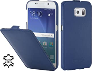 StilGut UltraSlim Case, Custodia in Pelle per Samsung Galaxy S6, Blu Notte