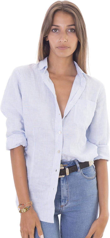 CAMIXA Camicia Donna in Puro Lino Camicetta Sciancrata Blusa Slim Fit Top Casual