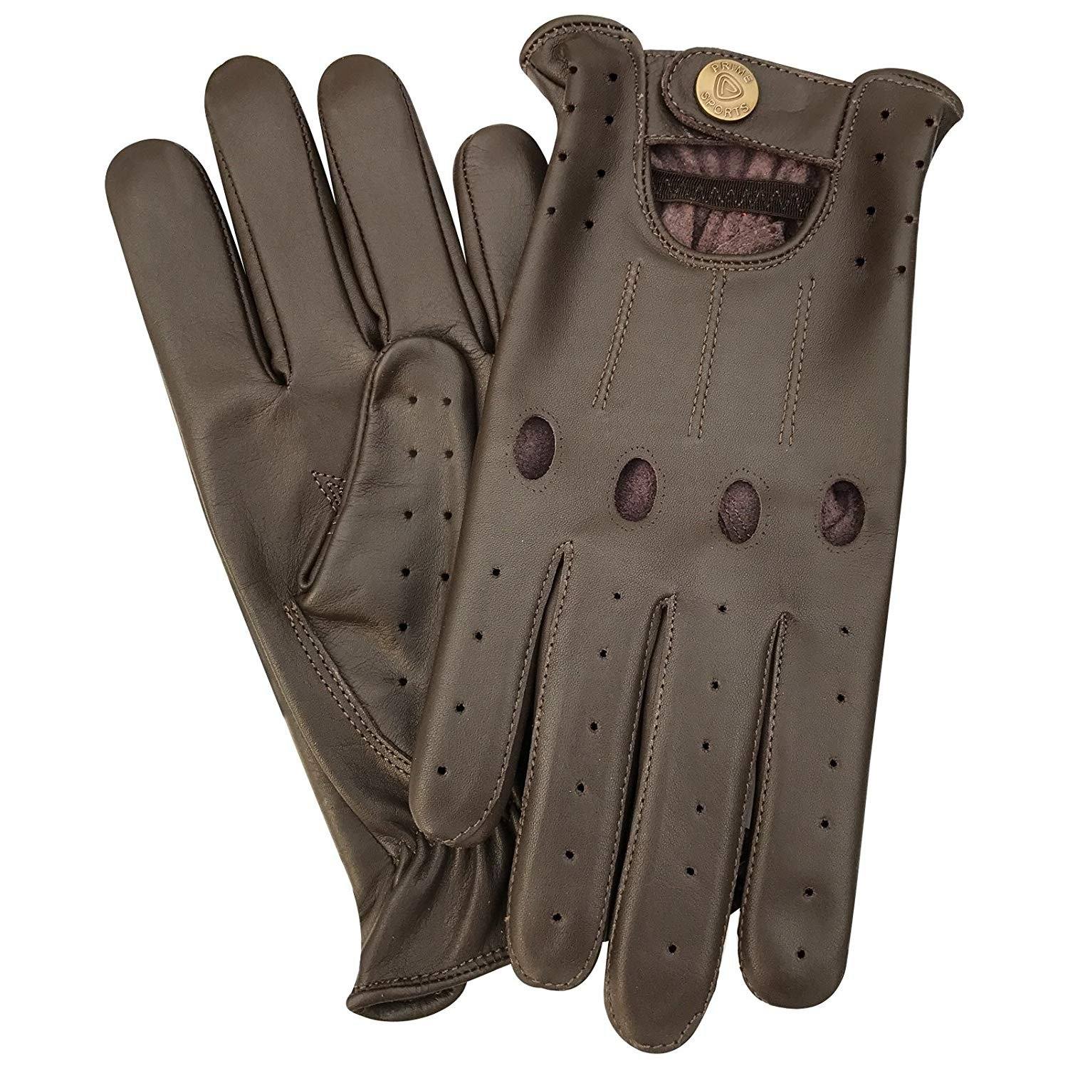 Half Finger Driving Gloves Soft Leather Lined Back Car Chauffeur Motorbike Van