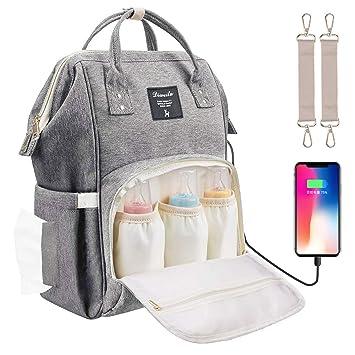 Kono Baby Wickelrucksack Wickeltasche Multifunktional Gro/ße Kapazit/ät Babytasche Reisetasche mit USB f/ür Unterwegs Grau