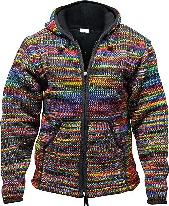 SHOPOHOLIC FASHION Chaqueta lazo Festival de tinte con capucha de lana Hippy para hombre [medio] [multicolor]