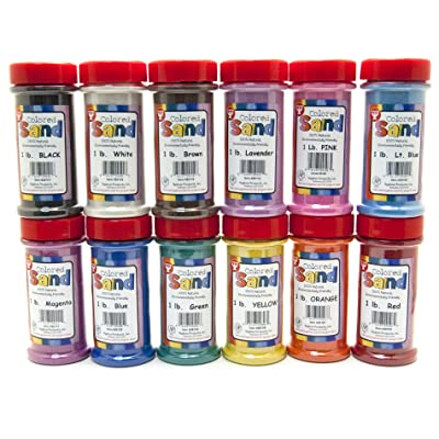Hygloss Products Colored Play Sand - Assorted Colorful Craft Art Bucket O' Sand, 12 Containers, 1 lb Each: Toys & Games