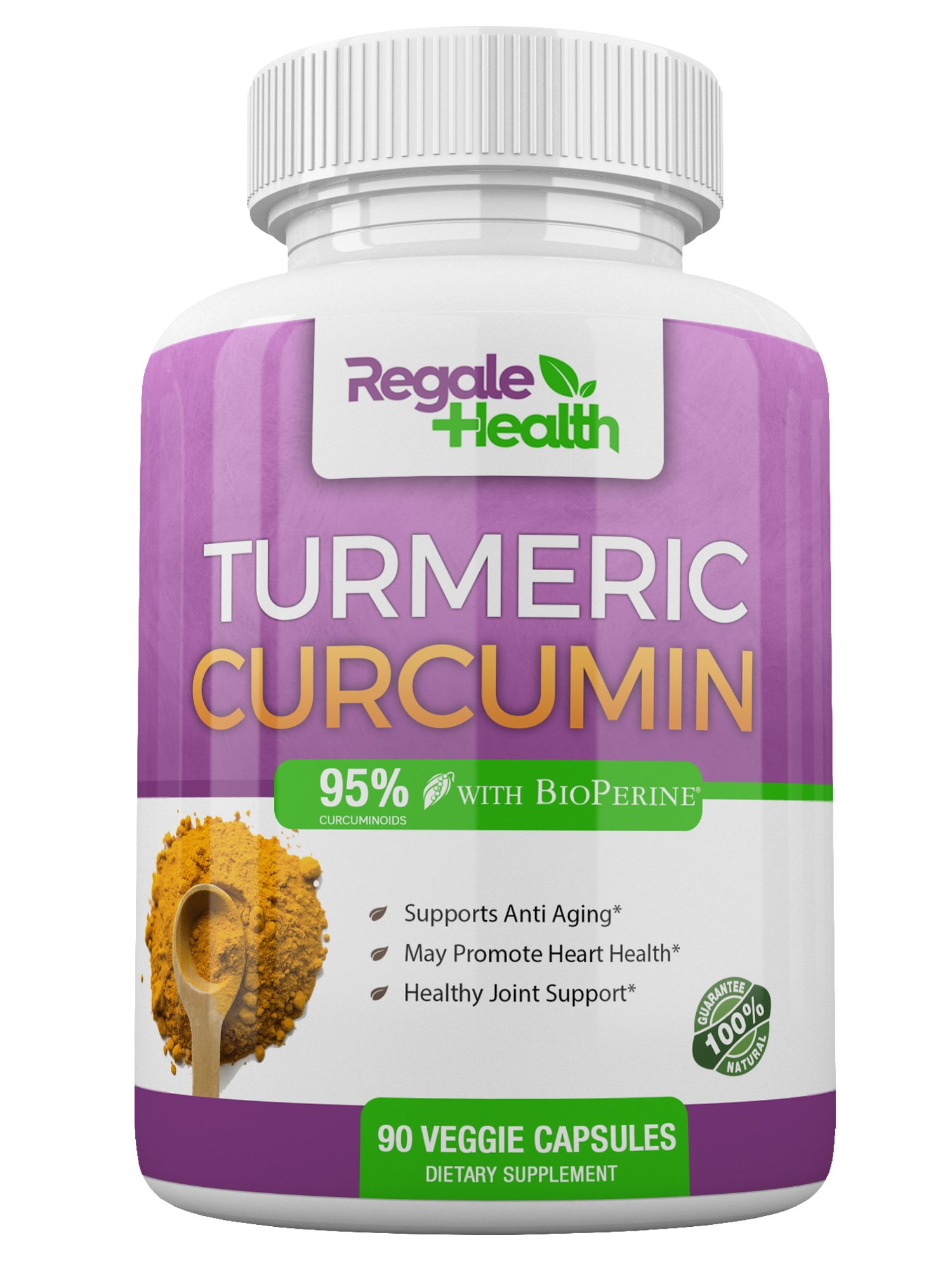 Turmeric Curcumin Supplement with Bioperine (Black Pepper) ~1950mg~High Potency 95% Curcuminoids~Joint Pain Relief Anti-inflammatory Antioxidant by Regale Health~90 Capsules~Non GMO Gluten Free