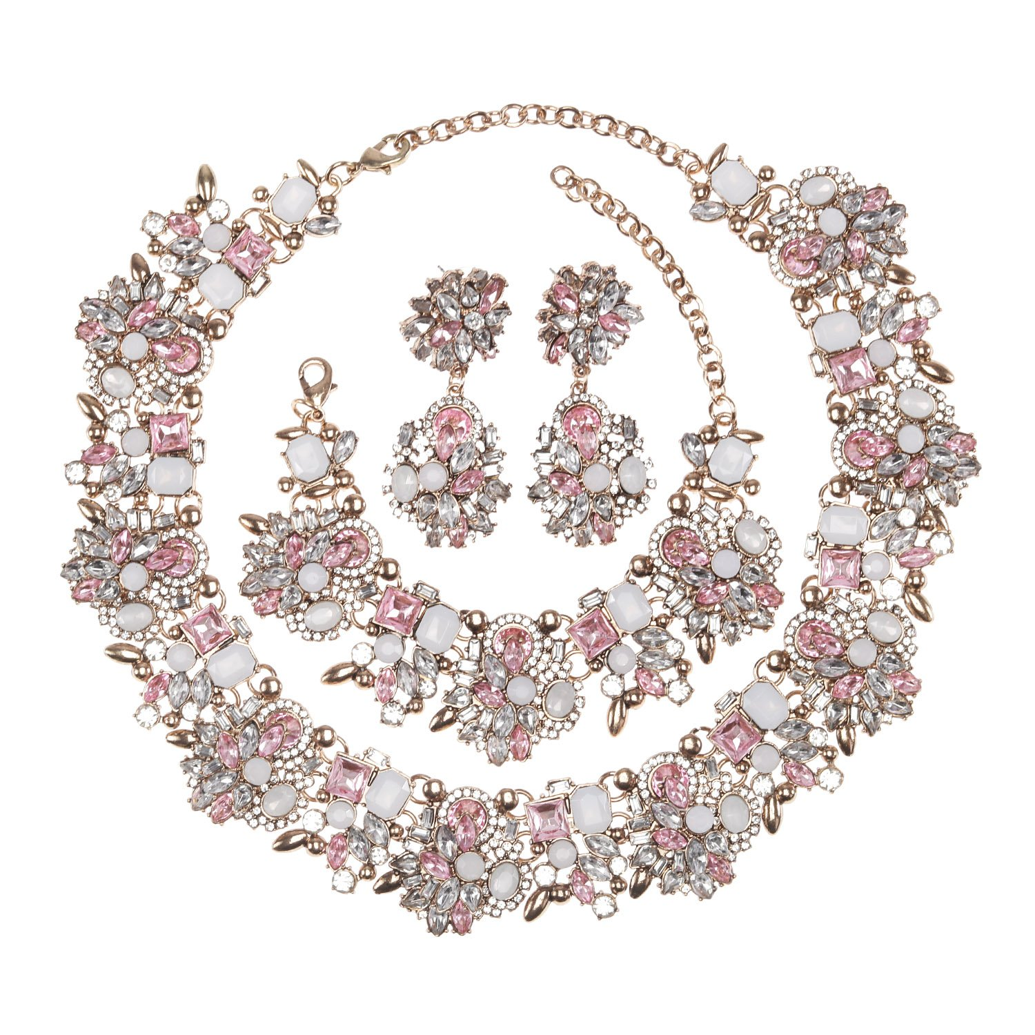 Holylove Light Pink Retro Style Statement Necklace Bracelet Earrings for Women Novelty Jewelry Set 1 with Gift Box-light pink 3pcs