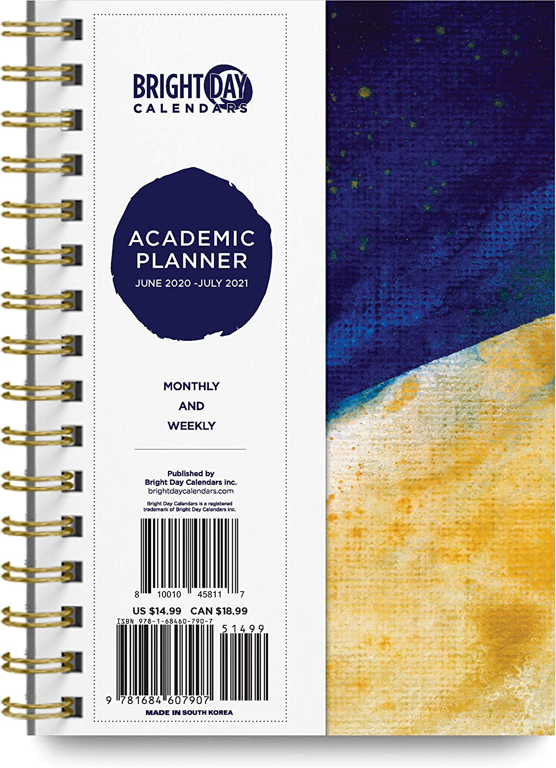2020-2021 Academic Planner -Yearly Monthly Weekly Daily Calendar Organizer by Bright Day Spiral Bound Dated Agenda Flexible Cover Notebook (Gold and Blue Splash, 8.25 x 6.25)