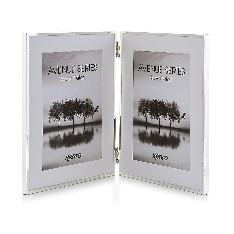 Amazon.de: Kenro Avenue Silber Foto Rahmen mit Weiß Matte, Silber ...