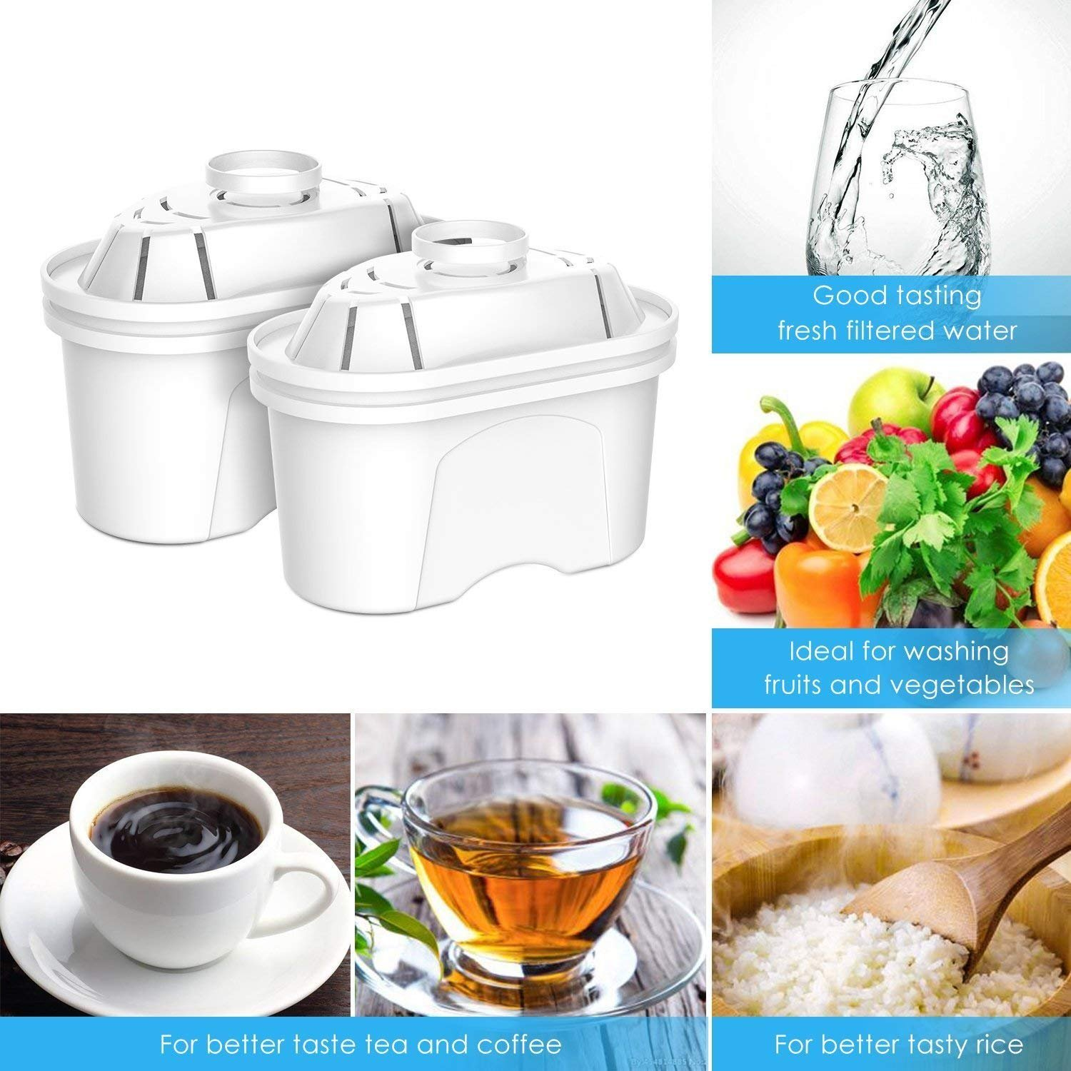 Aozora Replacement Filter Water Pitcher with 4-Stage Filtration for Reducing Lead, Mercury, Zinc, and Removing Chlorine Taste & Odor, Drinking Water Filter for Pitcher by Aozora (Image #2)