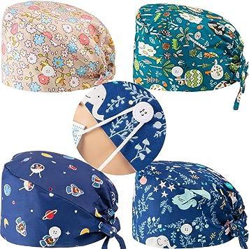 Enkudc Cute Printed Working Cap Bouffant Turban Cap with Sweatband Adjustable Tie Back Hats for Women//Men