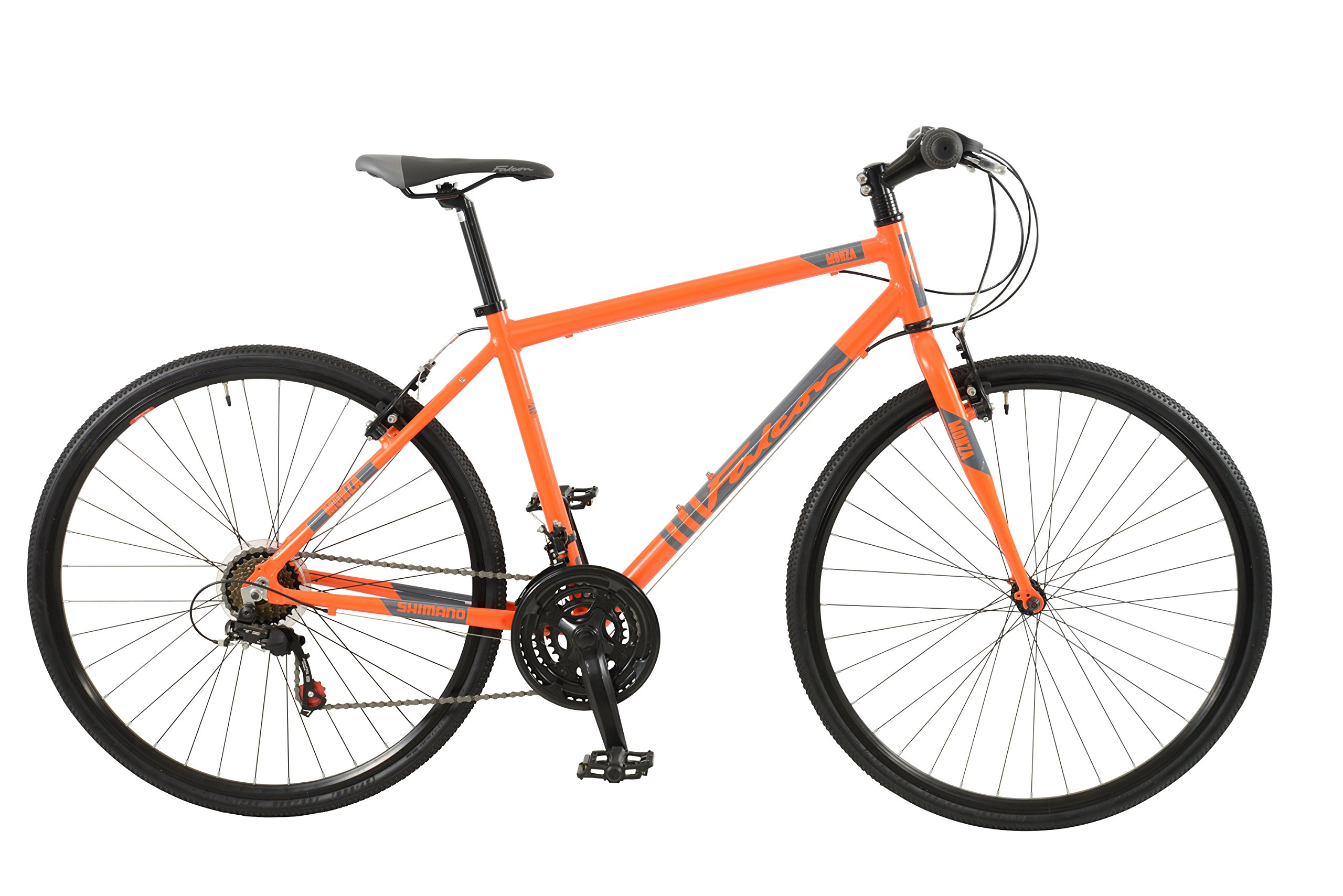 Falcon Monza Mens' Mountain Bike Orange, 19'' inch aluminium frame, 18 speed straight blade high performance steel fork powerful front and rear alloy v brakes by Falcon