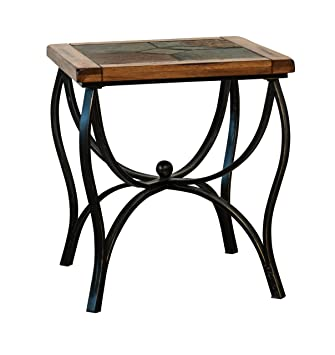 Charmant Sunny Designs Sedona Slate Metal End Table In Rustic Oak