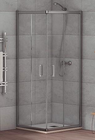 Mampara de Ducha Angular Modelo ALABAMA (2 Hojas Fijas y 2 Correderas) Cristal de Seguridad de 6mm y Perfil Aluminio Cromado 70x100 (Adaptable 68-70cm a 98-100cm): Amazon.es: Bricolaje y herramientas