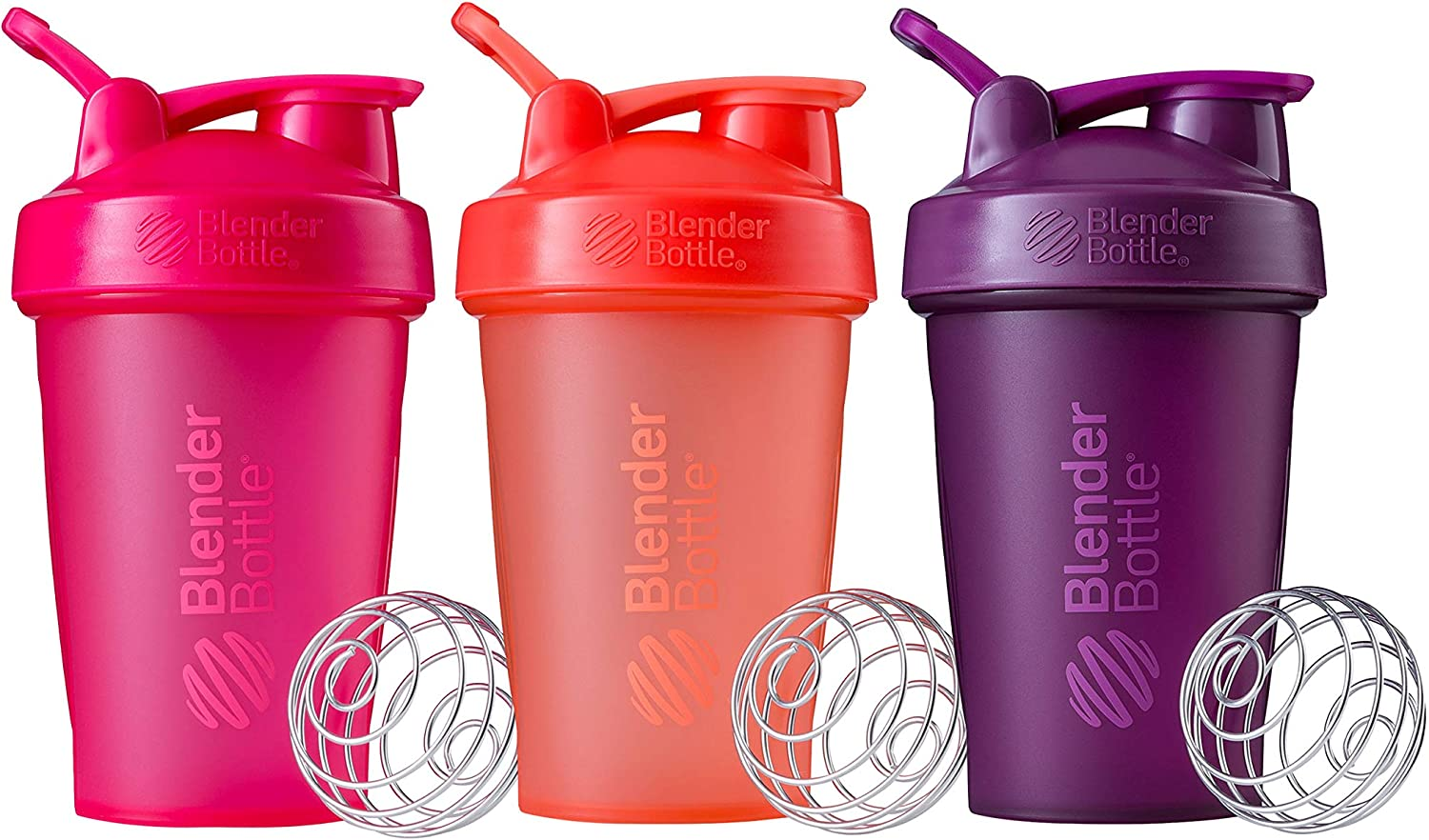 BlenderBottle Classic V1 Multipack Shaker Bottle, 20-Ounce, Coral and Pink and Plum