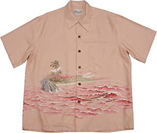 product image for Kaimana Surf Men's Kamehameha Style Rayon Vintage Shirt in Coral - S