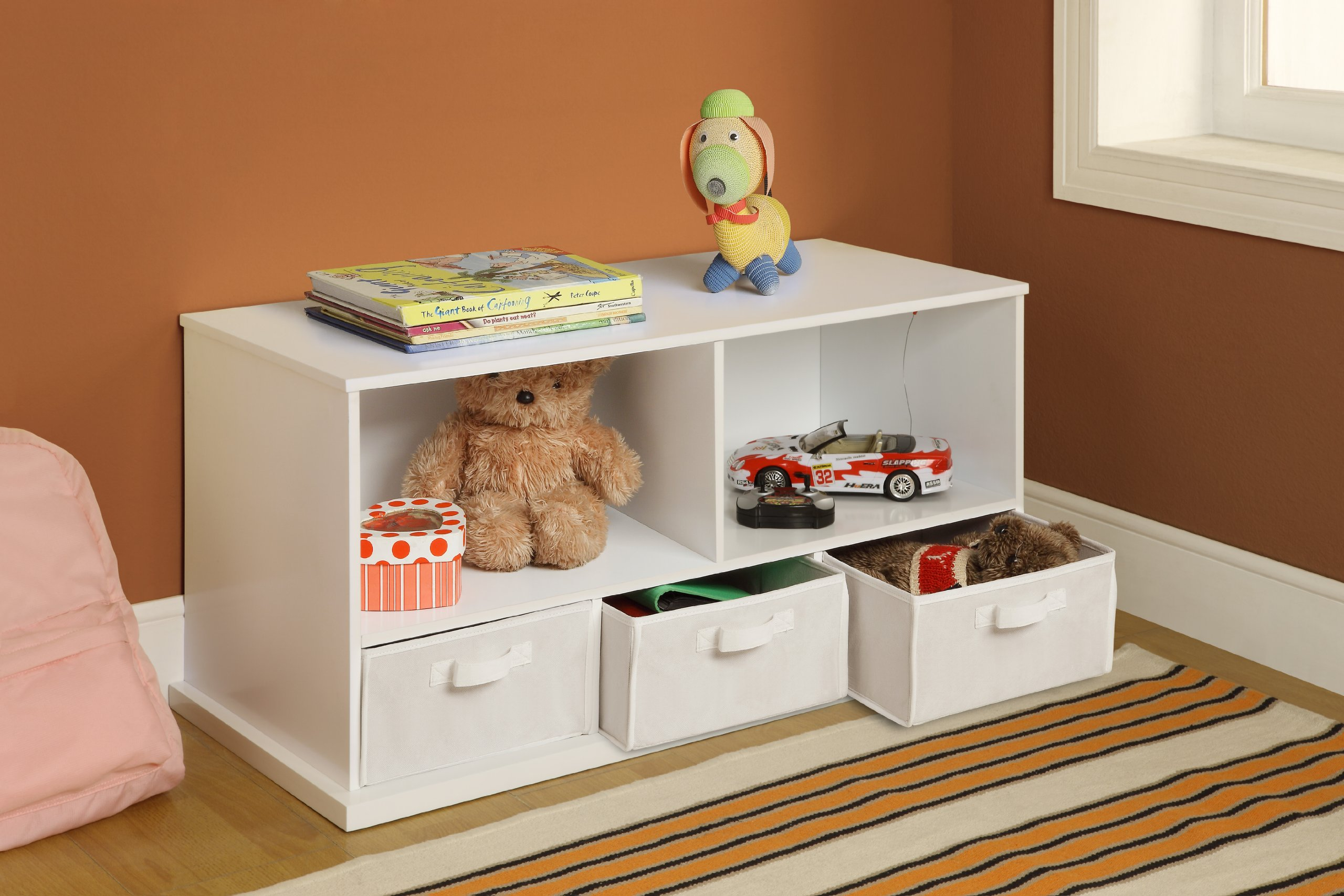 Badger Basket Shelf Storage Cubby with Three Baskets, White by Badger Basket (Image #3)
