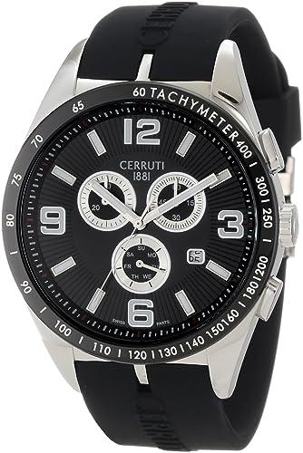 07e9ac9eb Buy Cerruti 1881 Men's CRA033E224G Veliero II Chronograph Black Dial Black  Rubber Watch Online at Low Prices in India - Amazon.in