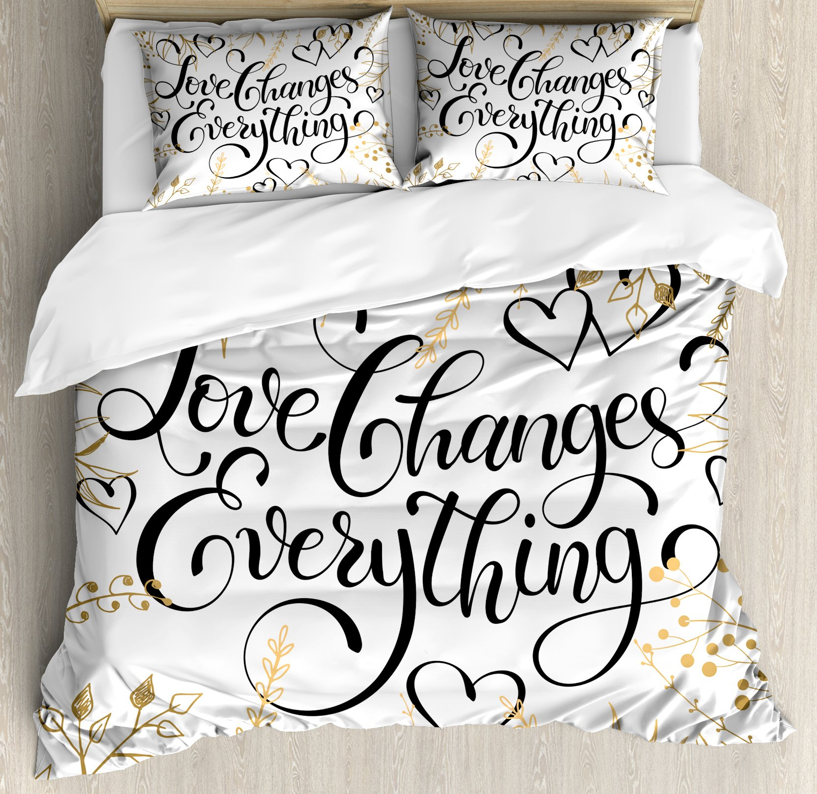 Ambesonne Romantic Duvet Cover Set King Size by, Golden Foliage Pattern Frame Style with Heart Shapes and Inspirational Quote, Decorative 3 Piece Bedding Set with 2 Pillow Shams, Gold White Black by Ambesonne (Image #1)
