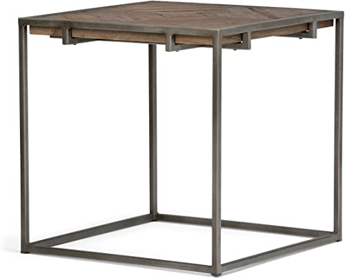 SIMPLIHOME Avery Solid Aged Elm Wood and Metal 20 inch wide Square Modern Industrial End Side Table
