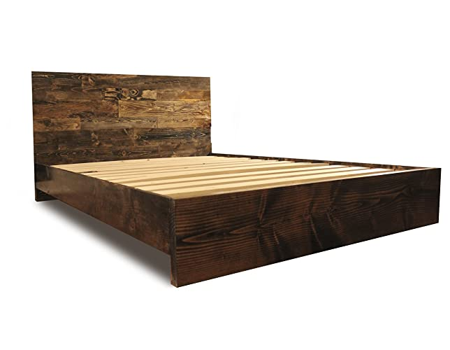 wooden platform bed frame and headboard modern and rustic and reclaimed style