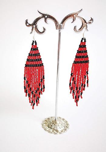 Beaded Earrings,Red Fringe Earrings,Long Beaded Copper Earrings,Handmade Fringe Earrings,Festival Jewelry,Gypsy Earrings,Artistic Red Glass