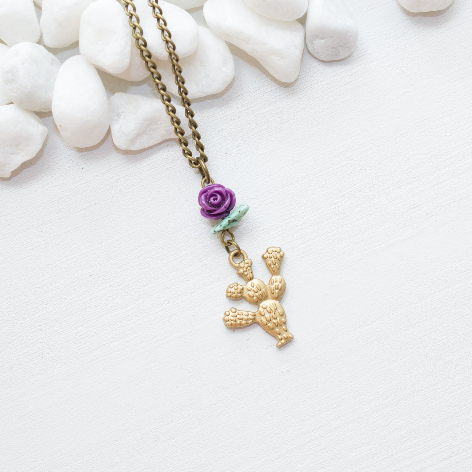 Made in Phoenix AZ Prickly Pear Flowering Cactus Necklace Unique Handmade Purple Flower Southwestern Jewelry