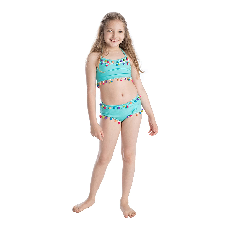 84069df4d4 Amazon.com: Masala Kids Girls' Little Pom Two Piece Set Turquoise: Clothing