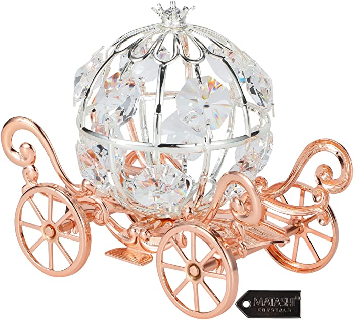 Matashi Rose Gold & Silver Plated Cinderella Pumpkin Coach Ornament with Crystals Home Decor Holiday Tabletop Decoration Showpiece Gift for Christmas Thanksgiving Birthday for Mom