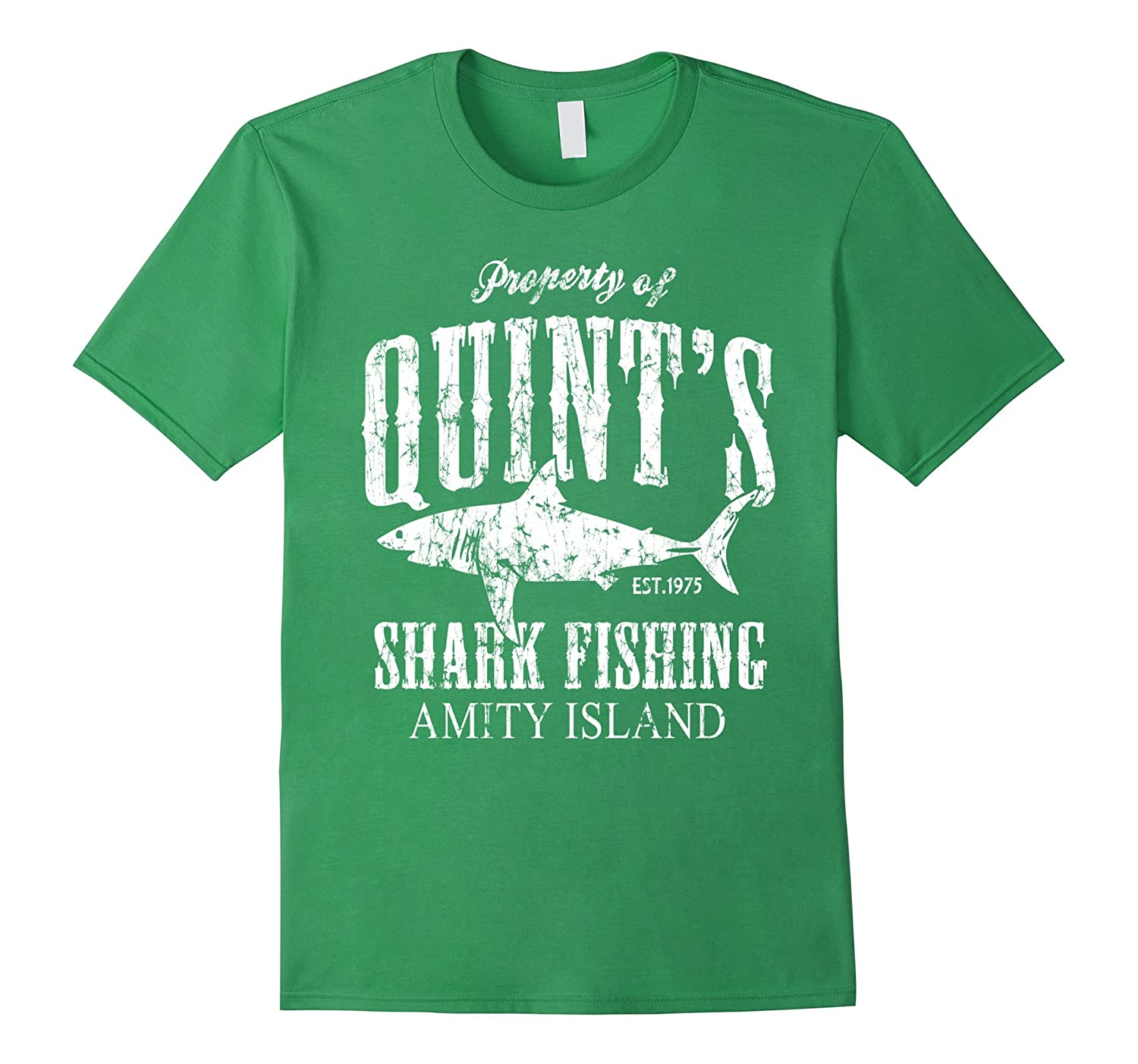 Quints shark fishing amity island goatstee for Fishing t shirts