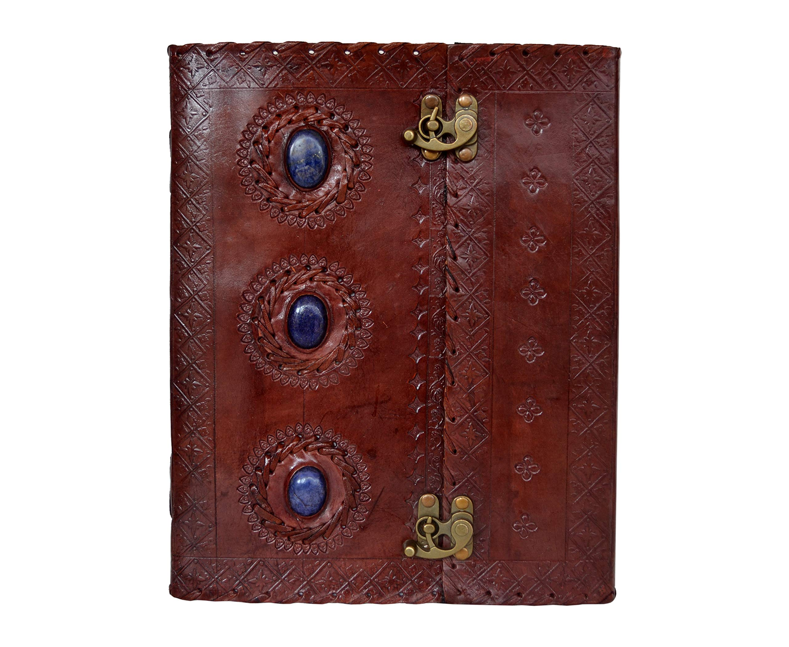 Leather Journal Handmade Three Medieval Stones Embossed Notebook Appointment Organizer Diary Day Planner College Book of Shadows Poetry Book Scheduler Sketchbook Office Supplies Large 10 x 13 Inches