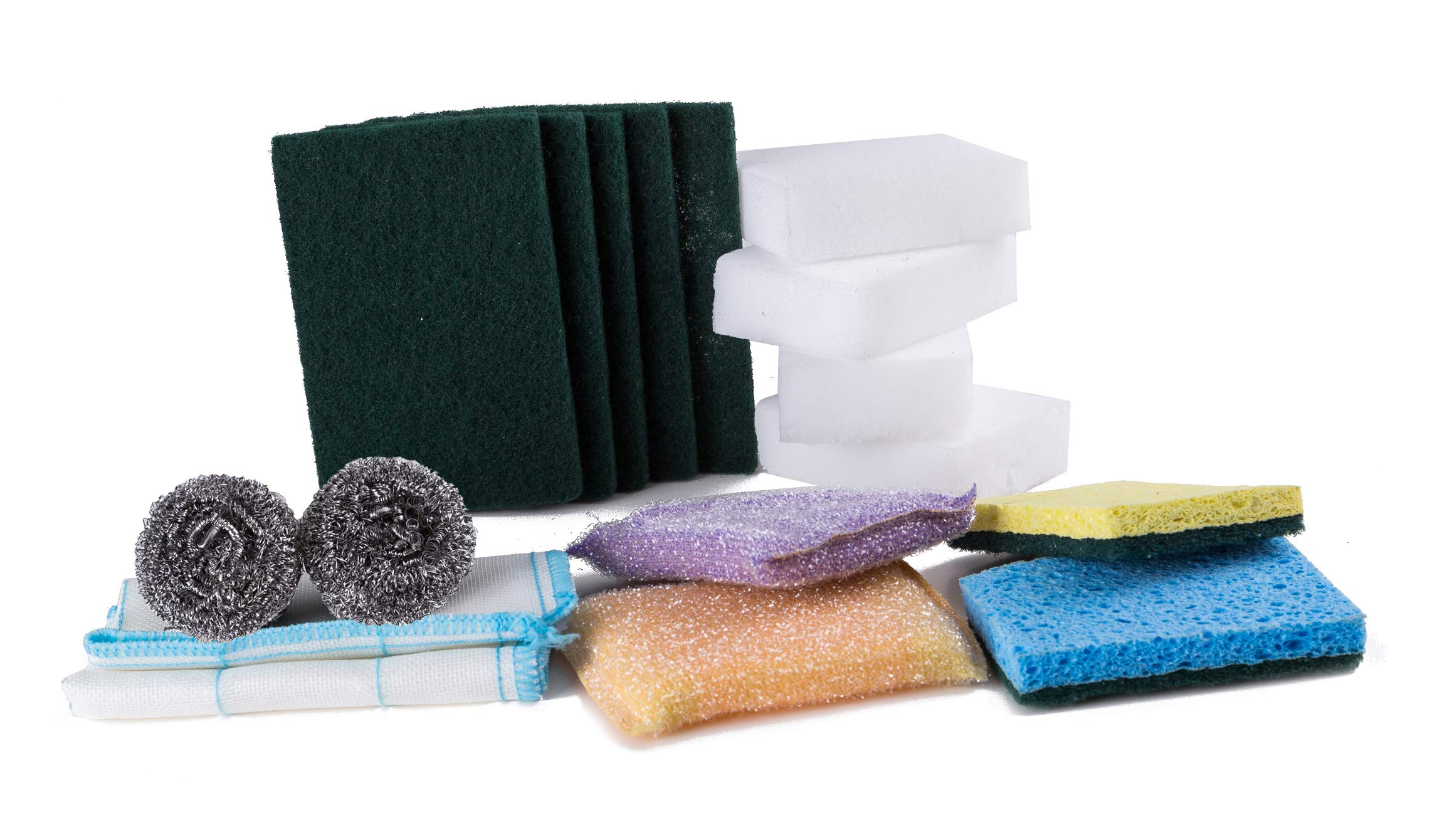 16 Pcs Kitchen & Household Scouring Pads Heavy Duty Cleaning Set Include Scrub Pads-Scrub Sponge-Scour Pad-Scrubber Non-Scratch Anti-Grease Technology-Get All You Needs in 1 Pack