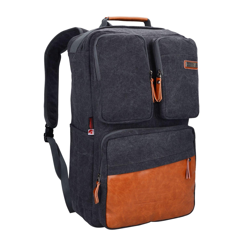 Witzman Men Retro Canvas Backpack Travel Rucksack Casual Duffel Bag 6618 (20 Inch, Black)