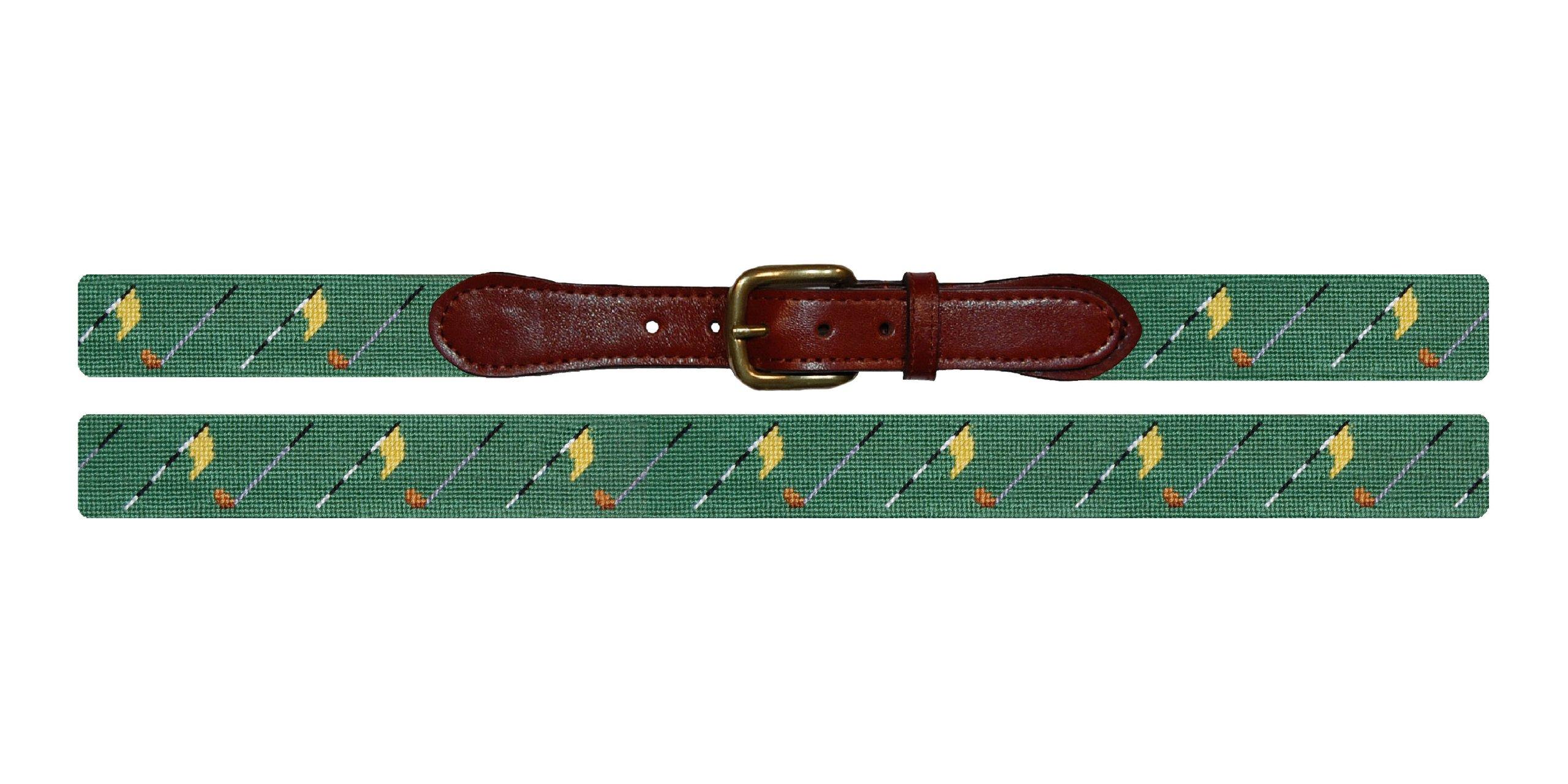 Smathers & Branson Golf Flags Needlepoint Belt - Sage, Size 40 (B-226-40)