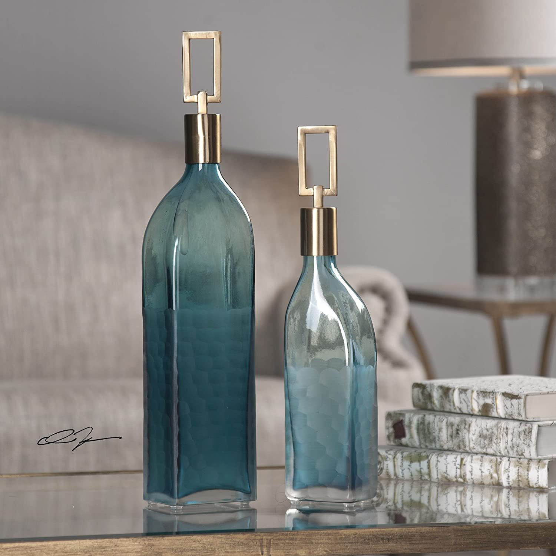 Amazon.com: Tall moderna Teal Verde Botella de vidrio Set ...