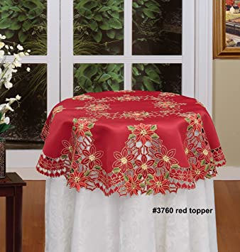 Gentil Creative Linens Holiday Christmas Embroidered Poinsettia Tablecloth  34u0026quot; ...