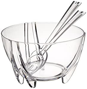 Prodyne Acrylic Salad Bowl with Servers, Clear