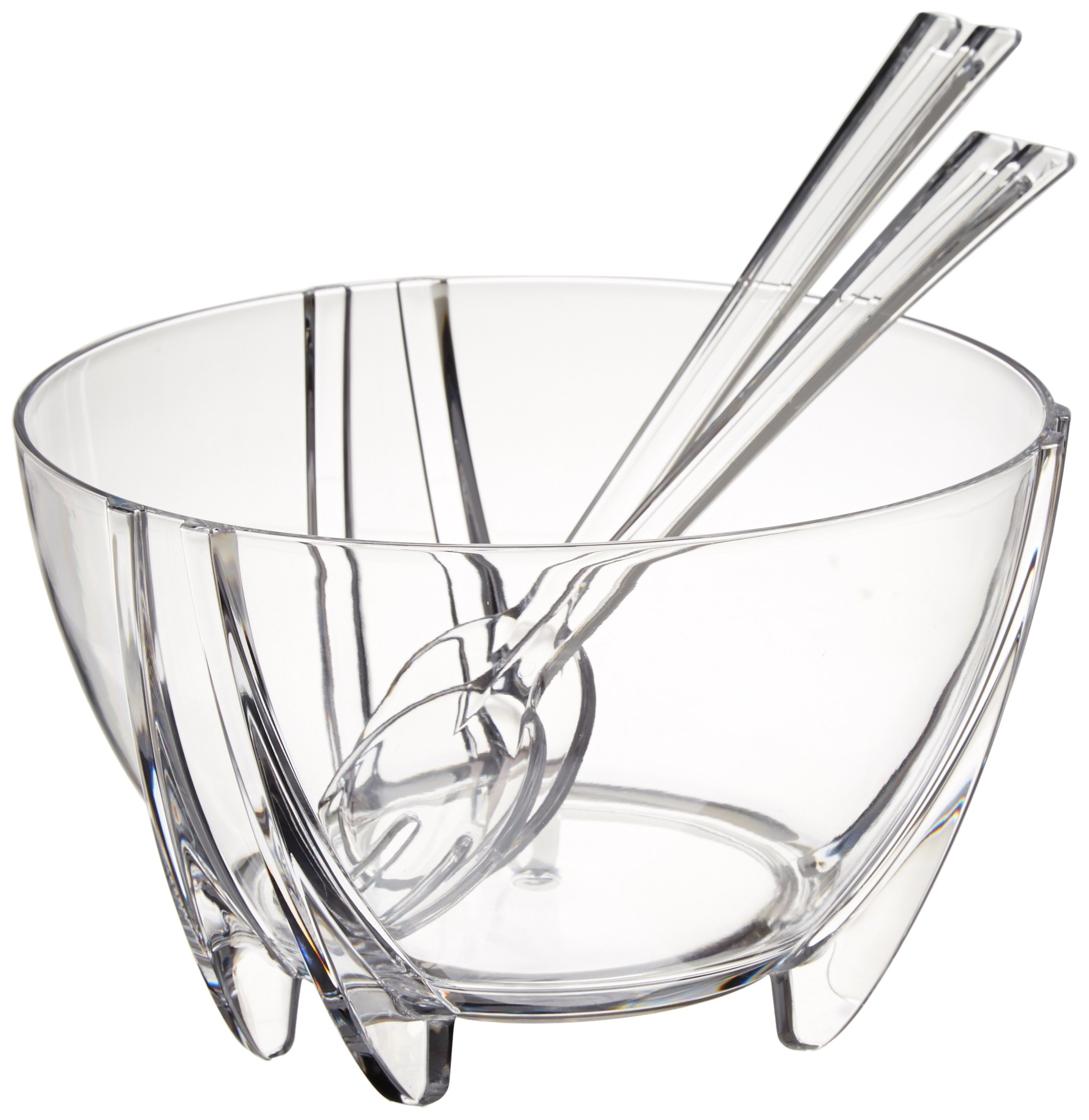 Prodyne Acrylic Salad Bowl with Servers, Clear
