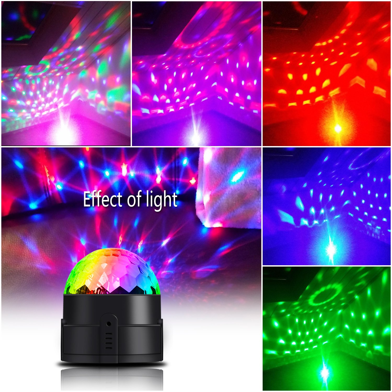 Spriak Disco Ball Party Lights 3rd Generation Strobe Light 3W DJ Dance Lights Sound Activated Portable Stage Light for Xmas Halloween Kids Birthday Party (with USB) by Spriak (Image #6)