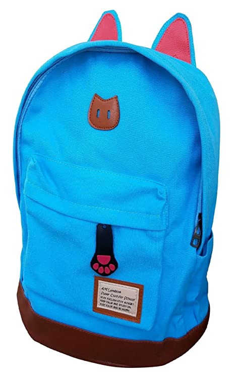 2ffd095a34a Amazon.com   AM Landen CAT Ears Backpack Kid Backpack Travel Daypack(small  with Laptop Sleeve, Teal Blue)   Kids  Backpacks